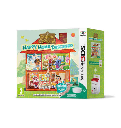 Animal Crossing: Happy Home Designer + 1 tarjeta amiibo + Lector/Escritor NFC 3Ds