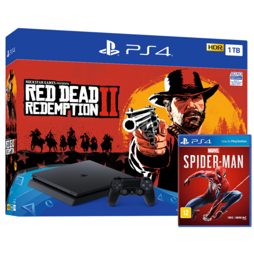Consola PS4 Slim 1TB + Red Dead Redemption 2 + Marvel's Spider-Man
