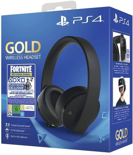 Headset Negro Oficial Sony Gold Wireless 7.1