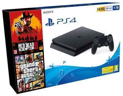 Consola PS4 Slim 1TB + Red Dead Redemption 2 + GTA