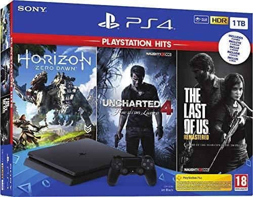 Consola PS4 Slim 1TB + Horizon Zero Dawn + Uncharted 4 + The Last of Us